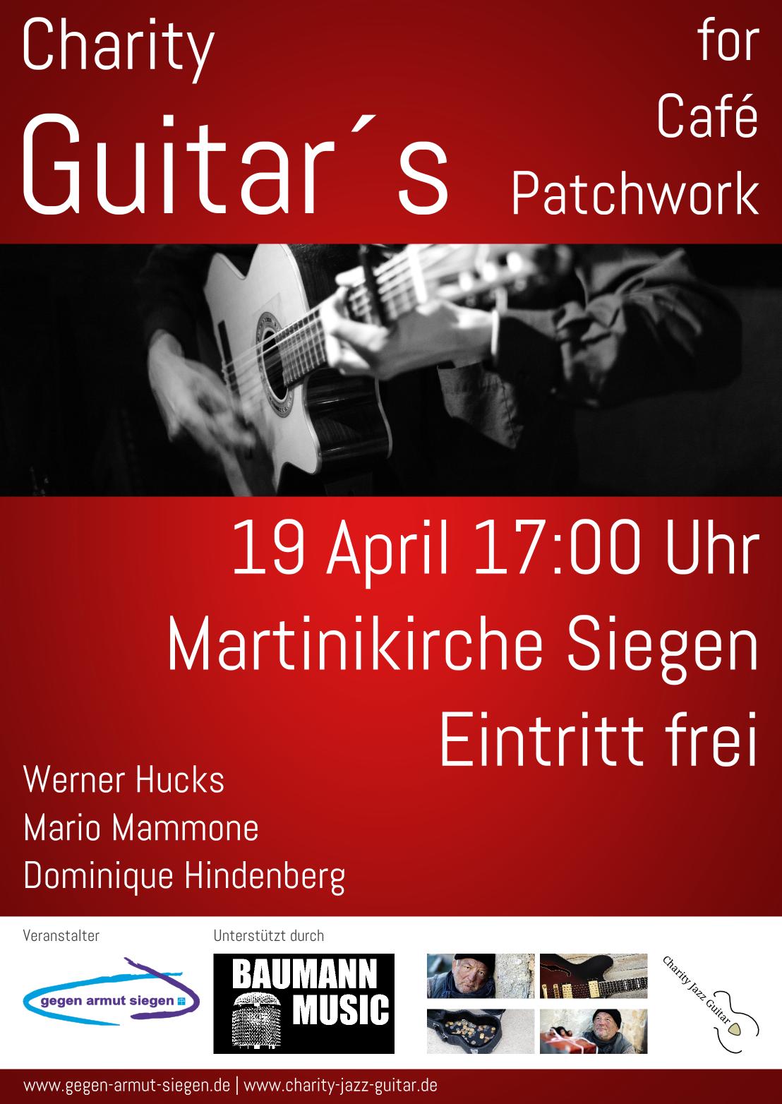Musik Gutes tun Spenden Armut Wohnungslos Gitarre speilen Charity Guitar Siegen gegen armut Not Hilfe Café Patchwork